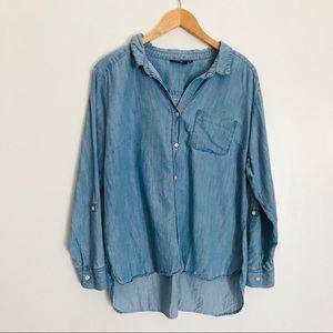 Apt. 9 | chambray hi-low button down shirt